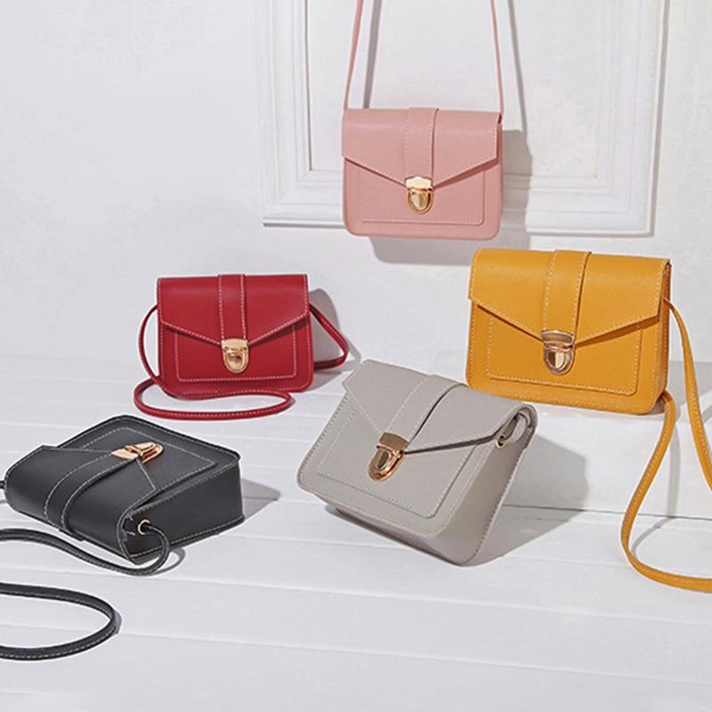 Fashion Mini Cute Small Chain Girl's Messenger Bag Children Lock Small Crossbody Bag Mini PU Leather Shoulder Messenger Bag