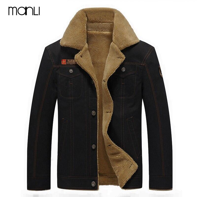 Mens Coat 2019 Winter Bomber Jacket Men Air Force Pilot MA1 Jacket Warm Male Fur Collar Army Tactical Fleece Denim Hiking Jacket
