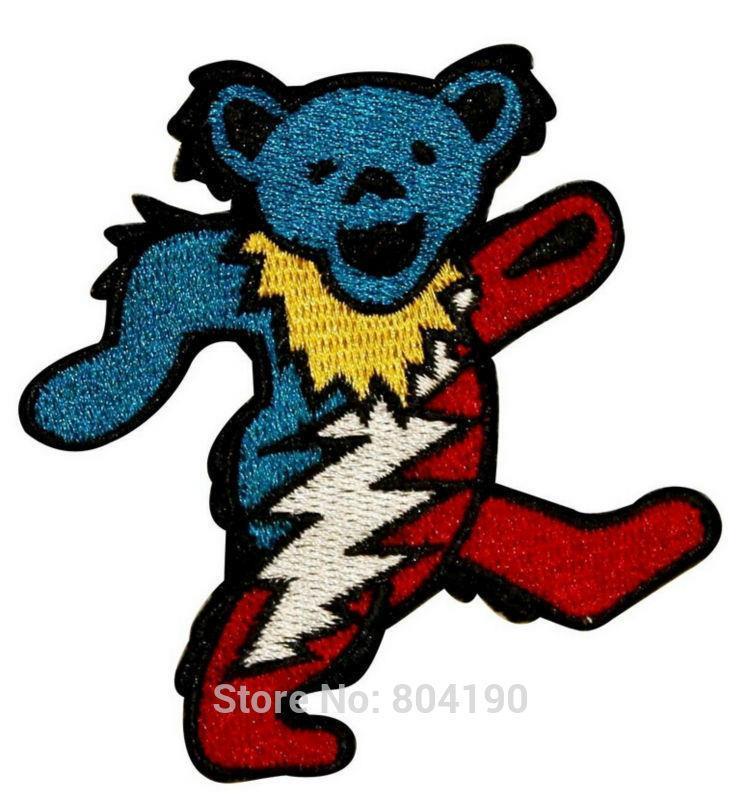 3 Grateful Dead Dancing Marching Lightning Bear Music Band Heavy Metal Iron On Patch Tshirt MOTIF