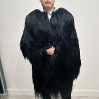 New Men's Natural Goat Fur Coat Long Jacket Women's Long Sleeve Men's Mongolian Wool Fur overcoat