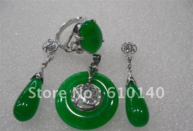 3PCS jade Jewellery Pendant Necklace Earring Ring8# set SAM_1932