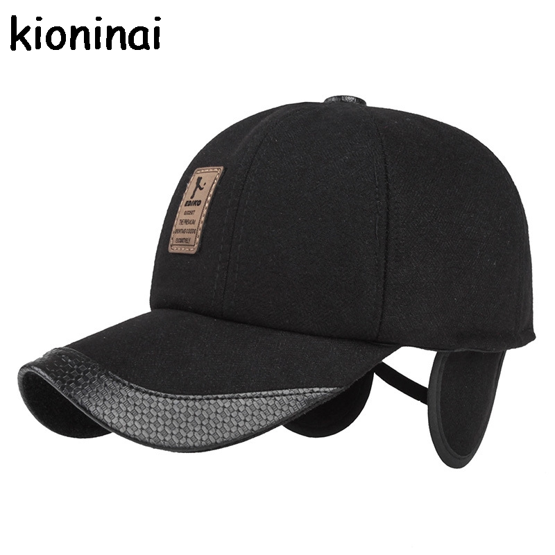 Kioninai 2017 gorra de béisbol de lana proteger orejas sombrero Invierno  Caliente SnapBack Golf gorras planas casquette Polo Swag para hombre f20f79d8eb0
