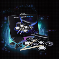 7 Pad Electronic Drum Kit for Drum Practice and Friends' Gathering Multifunctional Portable Professional Jazz Drum