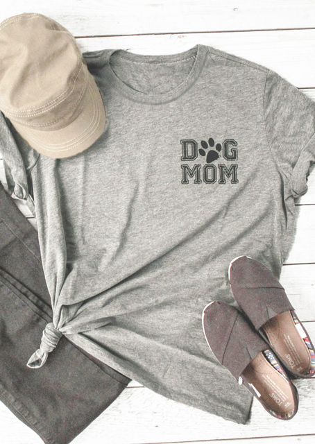 6b25732f93de Dog Mom Paw Girl Gift T-Shirt Gray Fashion Clothing Mothers Day Teed Dog  Lover