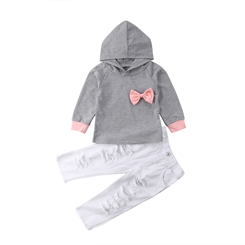 2018 Kids Baby Girls Clothes Set Cotton Long Sleeve Top Hooded Hoodie Bow Hole Pants Leggings Costume Autumn Winter Sale 2-6T