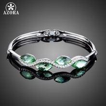 Azora Fashion Perhiasan 4 Pcs Hijau Muda Stellux Austria Kristal Air Drop Bangle Gelang untuk Wanita TB0066(China)