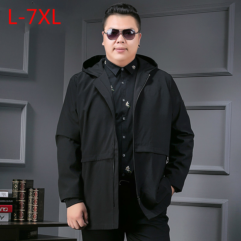 Long8XL 7XL Color Section Windbreaker Male Spring Increase Enlarge Code Jacket Even Hat Leisure Time Loose