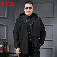 Long8XL 7XL Color Section Windbreaker Male Spring Increase Enlarge Code Jacket Even Hat Leisure Time Loose Coat Guy The Wear