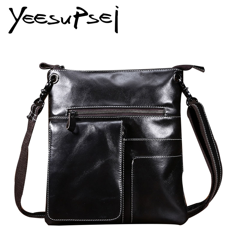 YeeSupSei Men Bag Genuine Leather Male Crossbody Bag Strap Small Casual Flap Men Leather Messenger Bag Men Fashion Shoulder Bag