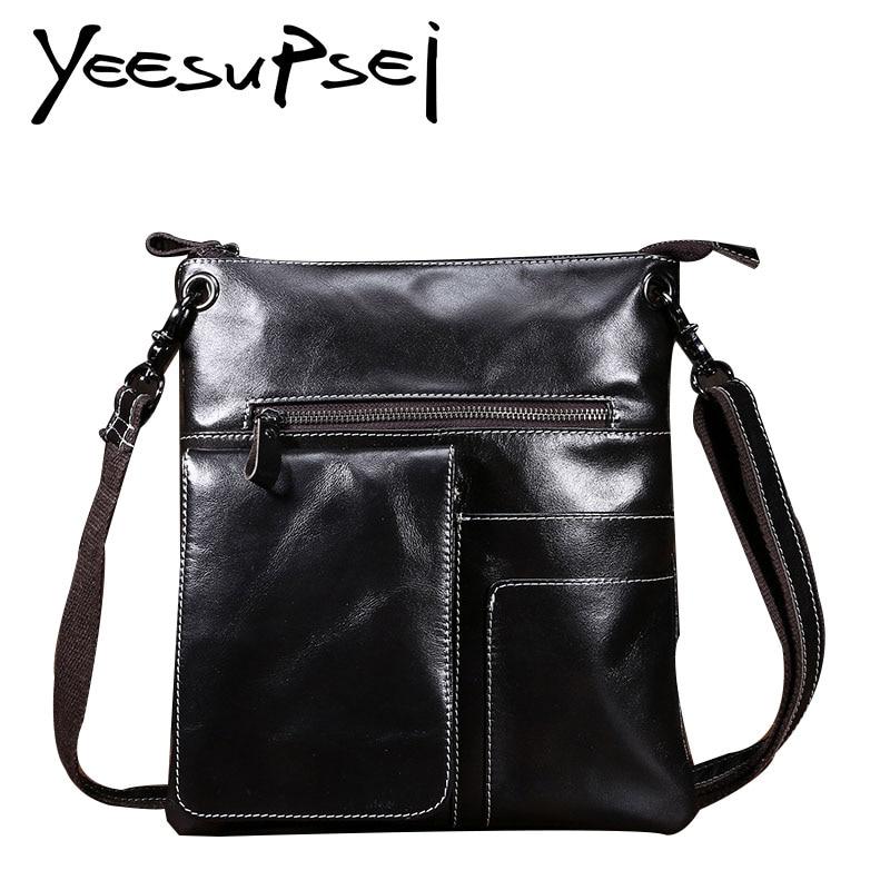 YeeSupSei Men Bag Genuine Leather Male Crossbody Bag Strap Small Casual Flap Men Leather Messenger Bag Men Fashion Shoulder Bag