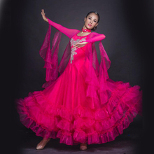 10 Colors Customize Ballroom Standard Dance Competition Dresses For Women Waltz Tango Ladies Sexy Flamengo Dancing Dress DL3013