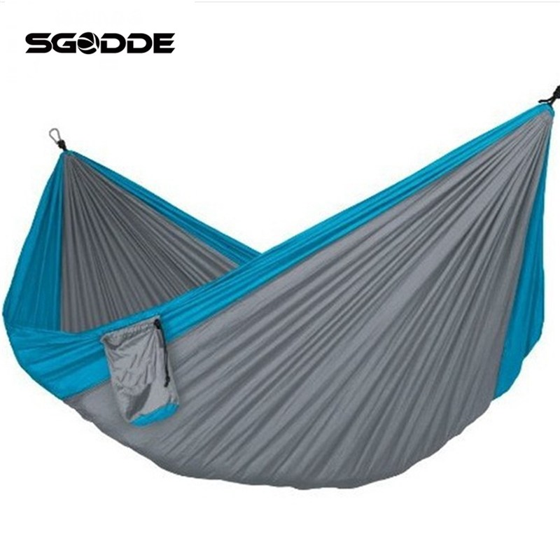 SGODDE Assorted Color Hanging Sleeping Bed Parachute Nylon Fabric Outdoor Camping Hammocks Double Person Portable Hammock outdoor sleeping parachute hammock garden sports home travel camping swing nylon hang bed double person hammocks hot sale