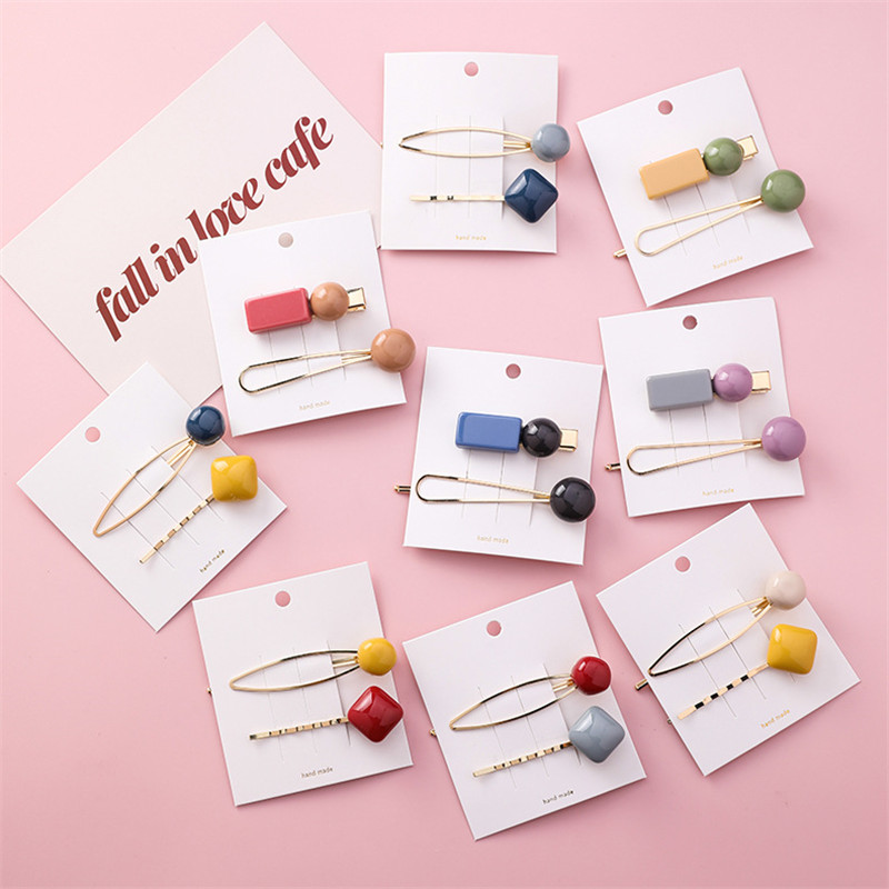 MENGJIQIAO New Korean 2PCS/Lot Fashion Colorful Geometric Hairpins Barrettes For Women Girls Cute   Headwear   Hair Jewelry Gifts