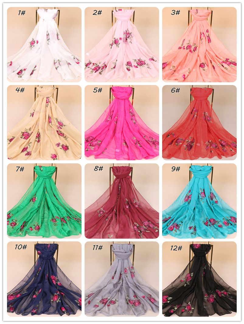 Donne peony floral ricama sciarpa di seta chiffon musulmano hijab beach avvolge scialli primavera scialli 12 colori 180*75 cm 10 pz/lotto