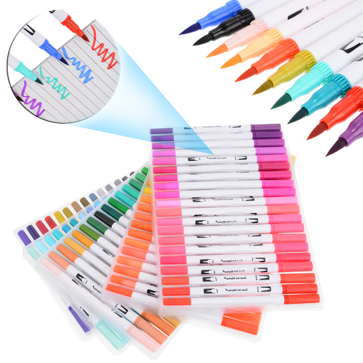 100pcs Marker Pen Dual Head Marker Art Graphic Drawing Manga Twin Tip Brush Fineliner Sketch Marker Pen100pcs Marker Pen Dual Head Marker Art Graphic Drawing Manga Twin Tip Brush Fineliner Sketch Marker Pen
