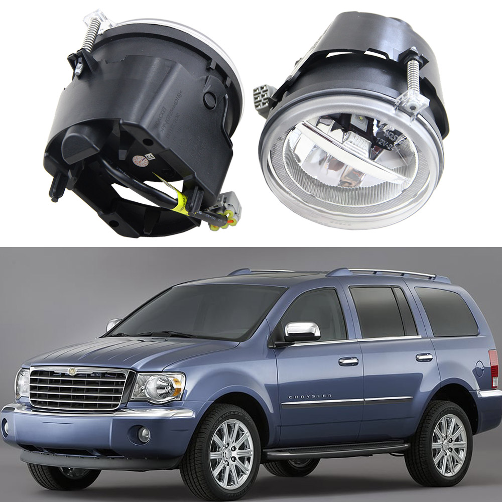 2pcs LED Fog Driving Lights 10W With Angle Eyes Halo For Jeep Commander Dodge Chrysler Front Bumper Drl Daytime Running Lights for opel astra h gtc 2005 15 h11 wiring harness sockets wire connector switch 2 fog lights drl front bumper 5d lens led lamp