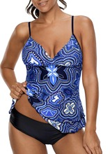Plus Size Printed Strap Layered Tankini