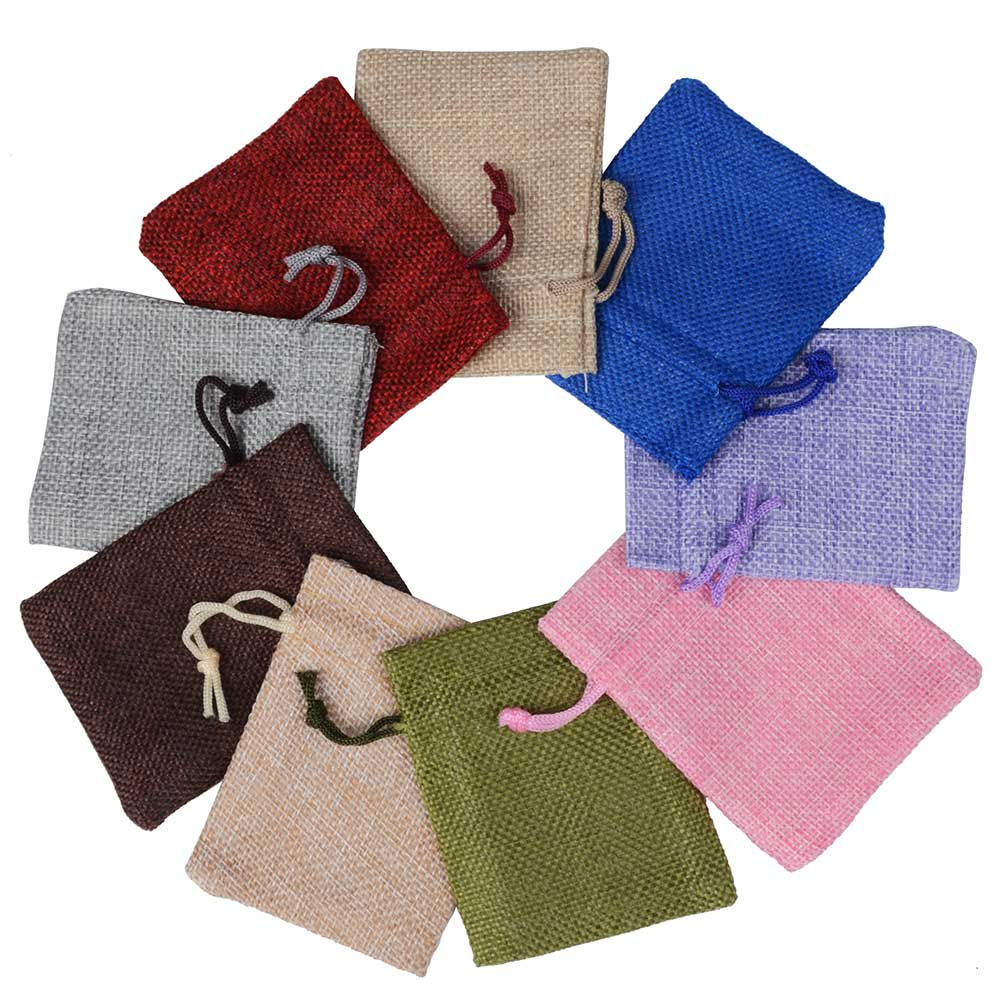 25pcs 7x9 cm Linen Flax bag Drawstring Pouch Jewelry Packaging Wedding Gift bag