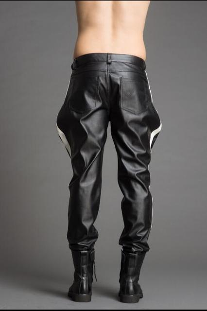 High-end custom-made men's color pantaloons leather pants fashion personality.      29-37!! 3