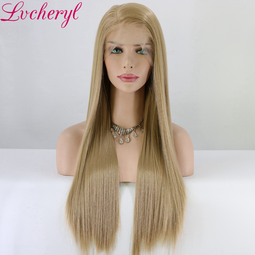 Lvcheryl Hand Tied 13x6 Lace Ash BLonde Color Free Part Futura Fiber Hair Wigs Heat Resistant