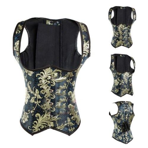 Free shipping Steampunk Underbust Gothic Pattern Underbust Corset Brocade Floral Vest S-6XL