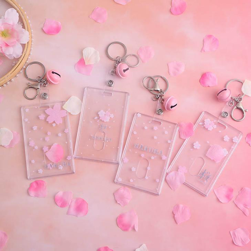 1 Pcs Lovely Cherry Sakura Flowers Strawberry Transparent Plastic Bell Card Holders Stationery Bank ID Card Bus Holder Case Bag