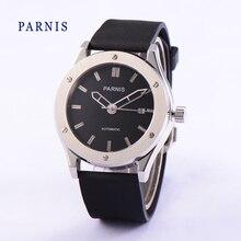 Мода Парнис 41 мм Черный Циферблат с Серебряным Маркеров Японский Кварцевый Механизм мужские Наручные Часы Black Watch Band