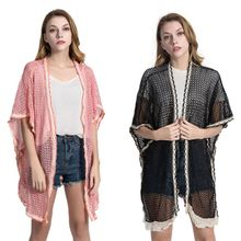 цены Womens 3/4 Sleeves Swimsuit Cover Up Hollow Out Herringbone Knitted Open Front Kimono Cardigan Top Lace Tassels Trim Loose Sunpr