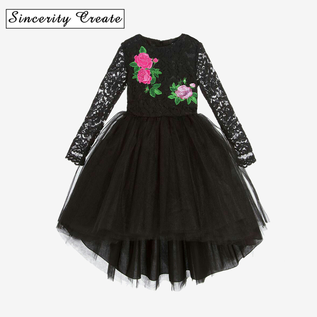 3ada9107a2ea Fashion baby girls dress Black Lace Embroidered Irregular Dress for ...
