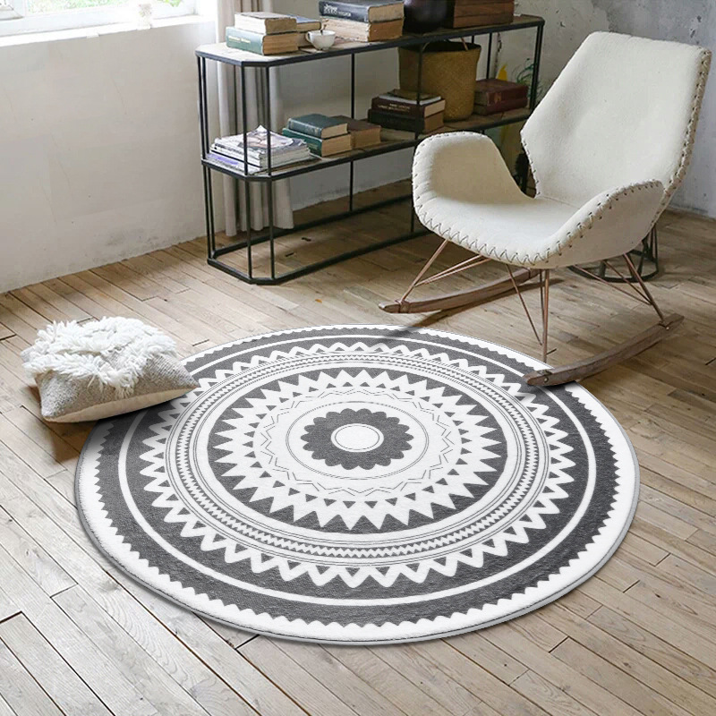 Nordic Modern Plush Floor Rug Round Area Carpet For Living Room Bedroom Home Textile Decor Rugs Geometric Kids Play Game Mats