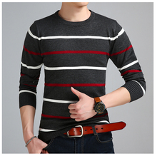 2019 Brand Social Cotton Thin Men's Pullover Sweaters Casual Crocheted Striped Knitted Sweater Men Slim Fit Jersey Clothes