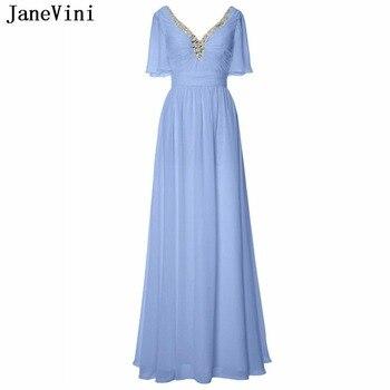 JaneVini Elegant A Line 2019 Long Prom Dresses V Neck Beaded Half Sleeves Floor Length Chiffon Plus Size Prom Gowns Gala Jurk