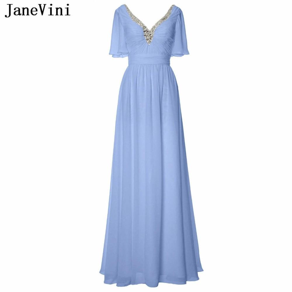 JaneVini Elegant Sky Blue A Line Long   Prom     Dresses   V Neck Beaded Half Sleeve Floor Length Chiffon Plus Size   Prom   Gowns Gala Jurk