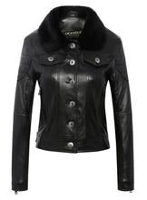 Free shipping,winter warm fashion Genuine leather jackets.Asian plus size female casual sheepskin jacket.womens fur jacket