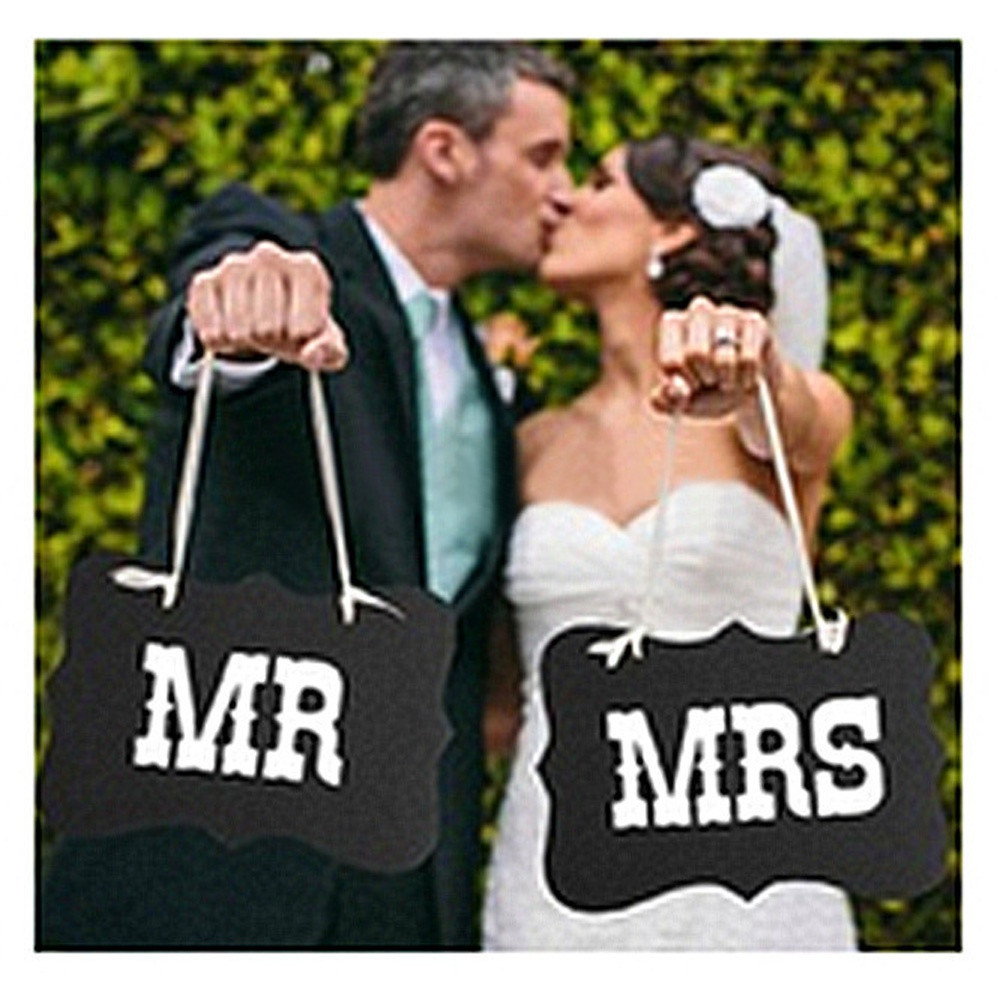 aliexpresscom buy free shipping diy black mr mrs paper boardribbon sign photo booth props wedding decoration party favor photocall for weddings from