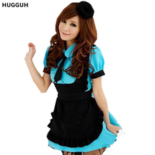HUGGUH New Maid Cosplay Costume Halloween Masquerade Resturant Waitress Blue and Pink Costume Short Sleeve Women Dress CK151272