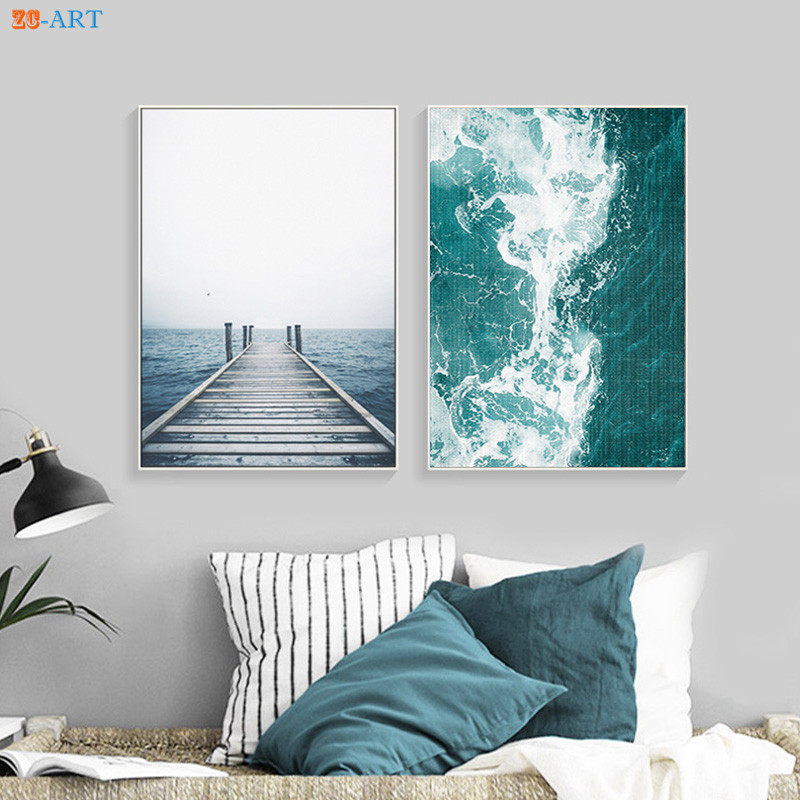 modern ocean water waves print turquoise blue and white abstract canvas painting coastal wall art beach