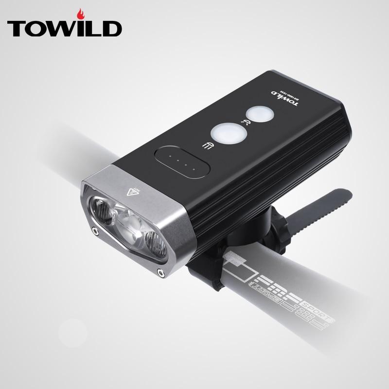 TOWILD Professional 1800 Lumens Bicycle Light Power Bank Waterproof USB Rechargeable Bike Light Flashlight Bike Accessories
