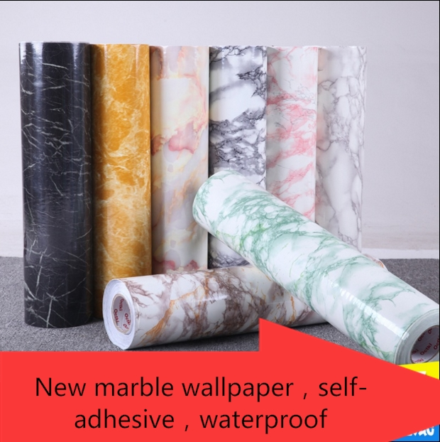 Hot 0.61cm*5m Marble Grain Wallpaper Waterproof Boeing Film Kitchen  Furniture Renovation Self