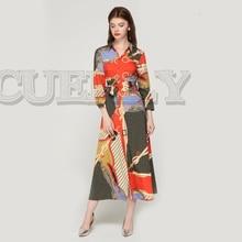 CUERLY women elegant patchwork print maxi dress bow tie sashes long sleeve pleated female office wear dresses vestidos 2019