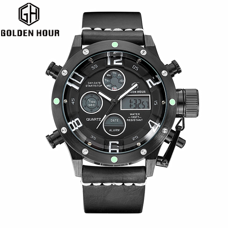 Top Brand Luxury Men Digital LED Quartz Analog Sports Watch Military Male Clock Hour Relogio Masculino Leather Strap Wristwatch gnoth top brand men watch leather quartz analog hour fashion sapphire clock male waterproof wristwatch hot sale 2017 new arrival