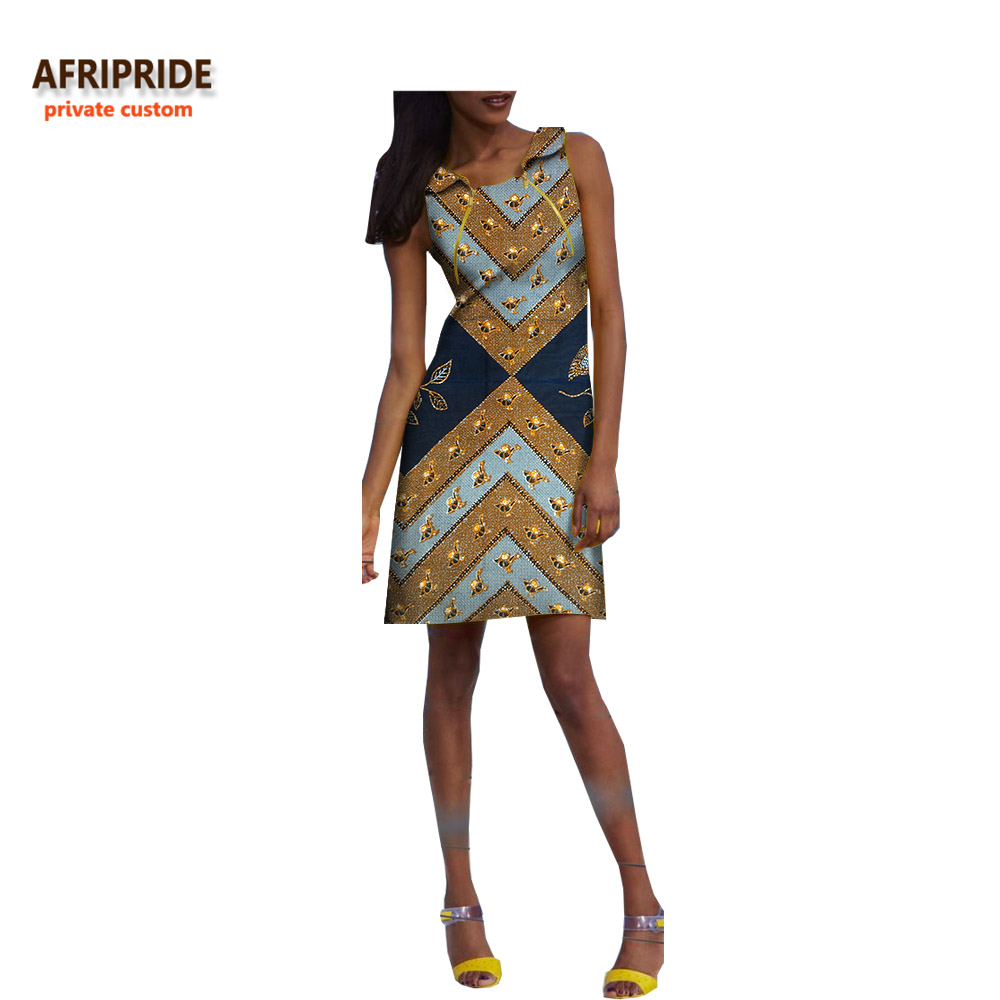 2019 new fashion summer dress for women AFRIPRIDE sleeveless square collar above-knee length casual dress zipper front A7225127
