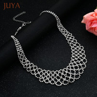 Fashion Vintage Luxury Rhinestone Bib Chunky Necklace Statement Jewelry Women Bridal Wedding Party Choker Necklaces Colares