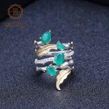 GEMS الباليه 925 الاسترليني الشظية الفرقة خاتم الأحجار الكريمة 2.26Ct الطبيعية العقيق الأخضر خواتم للنساء شخصية غرامة مجوهرات