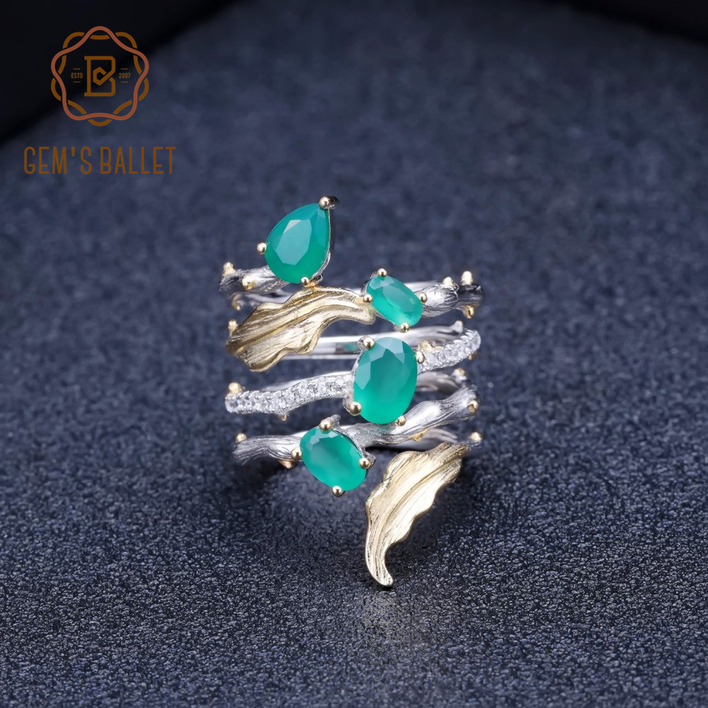 GEM'S BALLET 925 Sterling Sliver Band Gemstone Ring 2.26Ct Natural Green Agate Rings For Women Personality Fine Jewelry