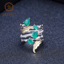 GEMS BALLET 925 Sterling Sliver Band Gemstone Ring 2.26Ct Natural Green Agate Rings For Women Personality Fine Jewelry