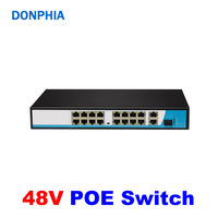 16CH POE Switch 48V 16pcs POE+2pcs LAN 250m 10/100Mbps IEEE802.3af/at Plug Play for IP camera Surveillance System