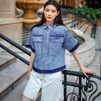 2017 تصميم جديد أزياء المرأة القمصان أوروبا شعبي النساء كاوبوي قمصان فضفاضة ، الصيف قميص 7082