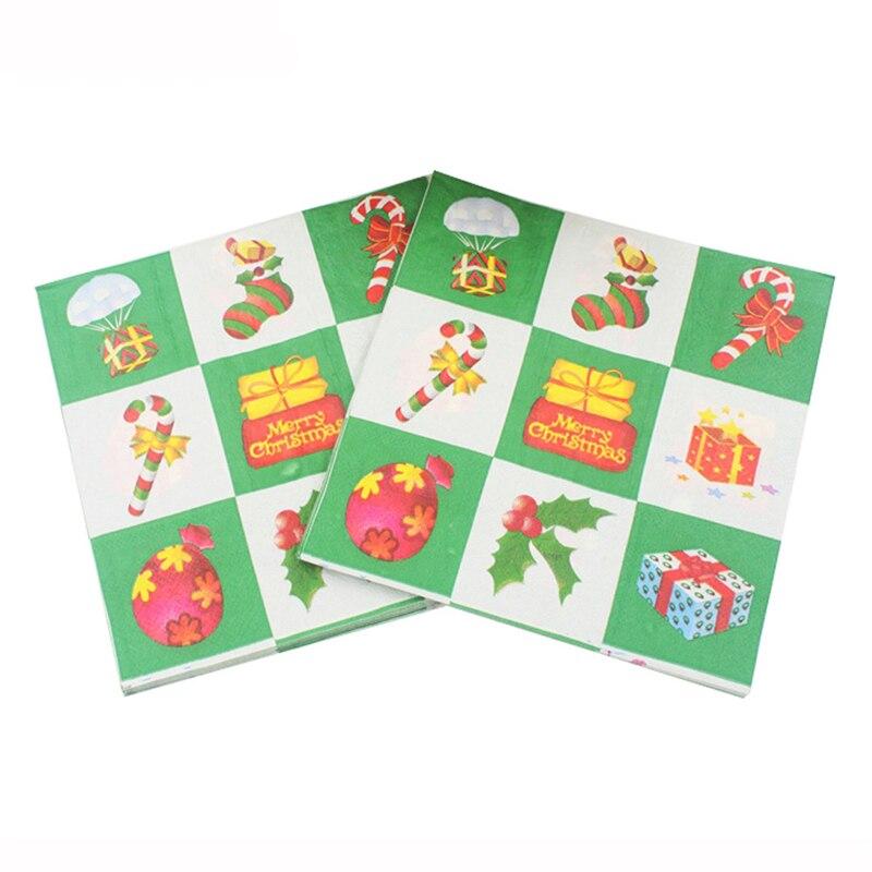 100 Stks Wit En Groen Plaid Ballon Herten Sok Kerst Papier Weefsels Servetten Party Nieuwjaar Decoratie Tafel Diner Levert