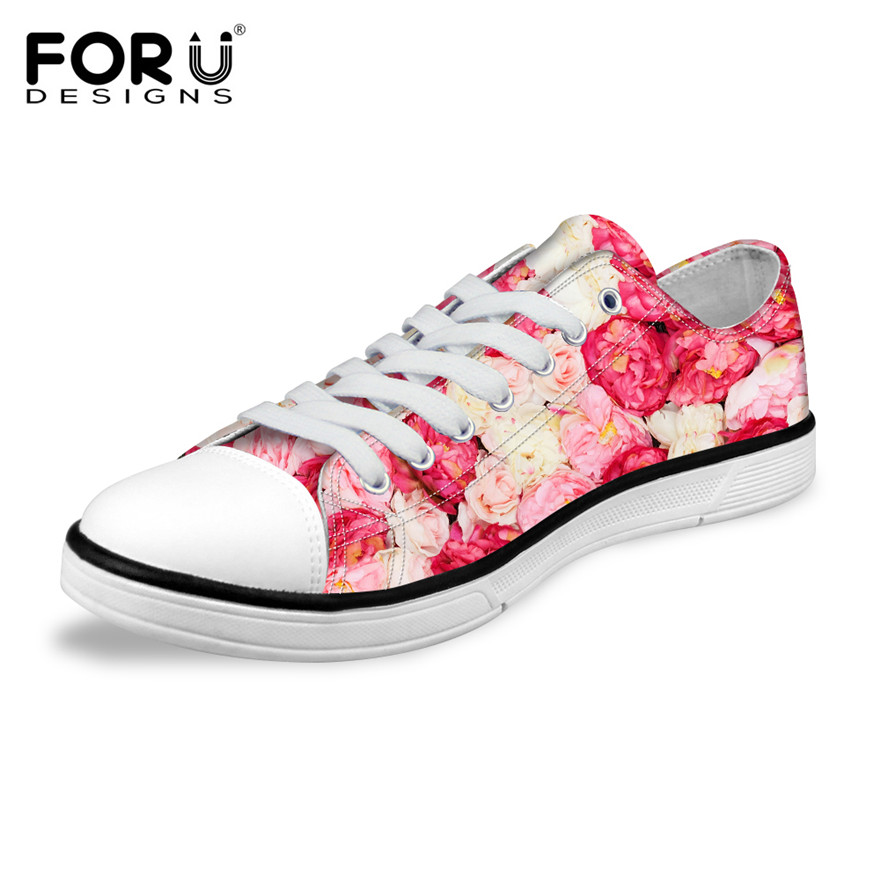dc850b8a05 US $29.99 25% OFF|FORUDESIGNS 2018 Fashion Women Low Style Lace up  Vulcanized Shoes Classic Female Canvas Shoes Ladies Floral Flower Pattern  Shoes-in ...